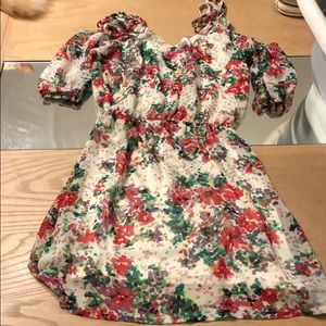 Dresses & Skirts - Women's top tie cold shoulder floral dress